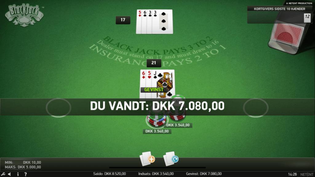 Vind penge på blackjack